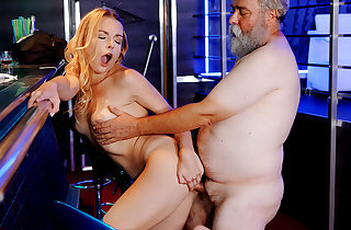 Slim blonde hither big boobs pleases a..